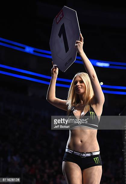 Octagon Girl Chrissy Blair introduces the first round during the UFC Fight Night event at Consol Energy Center on February 21 2016 in Pittsburgh...