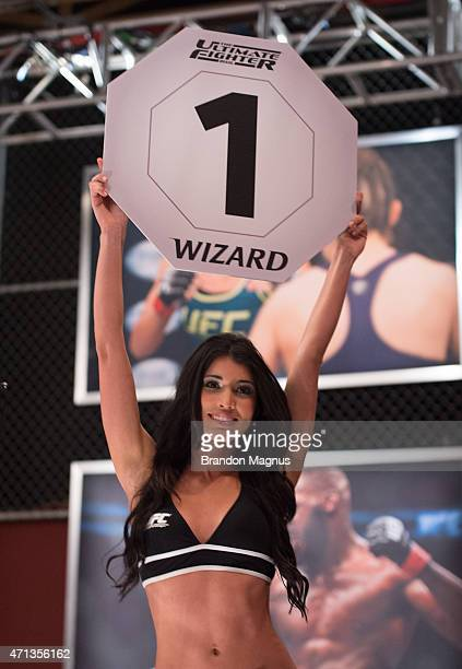 Octagon Girl Cindy Martinez introduces the first round during the filming of The Ultimate Fighter Brazil Team Nogueira vs Team Rua on February 11...