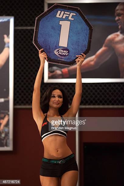 Octagon Girl Jamillette Gaxiola signals the first round between Team Velasquez fighter Masio Fullen and team Werdum fighter Leonardo Morales in their...