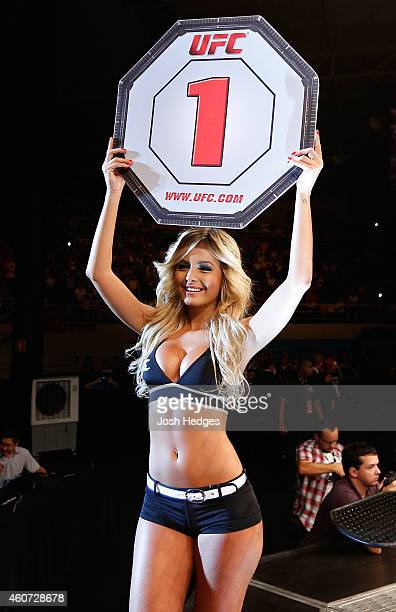 Octagon Girl Jhenny Andrade introduces a round during the UFC Fight Night event inside the Ginasio Jose Correa on December 20 2014 in Barueri Brazil