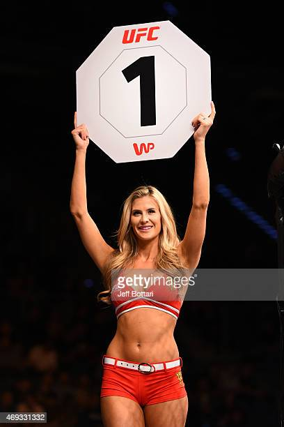 Octagon Girl Kristie Pearson introduces a round during the UFC Fight Night event at the Tauron Arena on April 11 2015 in Krakow Poland