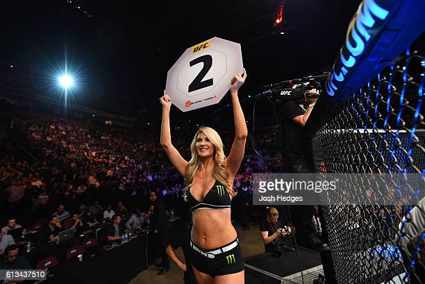 Octagon Girl Kristie Pearson introduces the second round during the UFC 204 Fight Night at the Manchester Evening News Arena on October 8 2016 in...