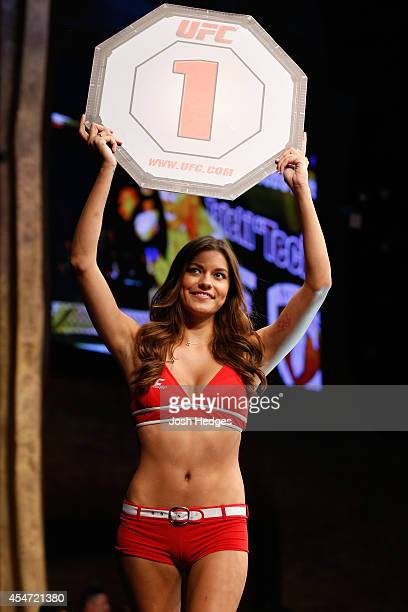 Octagon Girl Vanessa Hanson introduces a round during the UFC Fight Night event at Foxwoods Resort Casino on September 5 2014 in Mashantucket...