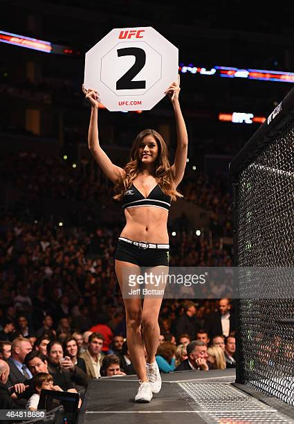 Octagon Girl Vanessa Hanson introduces the round during the UFC 184 event at Staples Center on February 28 2015 in Los Angeles California