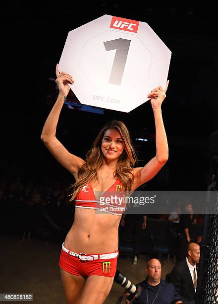 Octagon Girl Vanessa Hanson introduces the round during the UFC event at the Valley View Casino Center on July 15 2015 in San Diego California