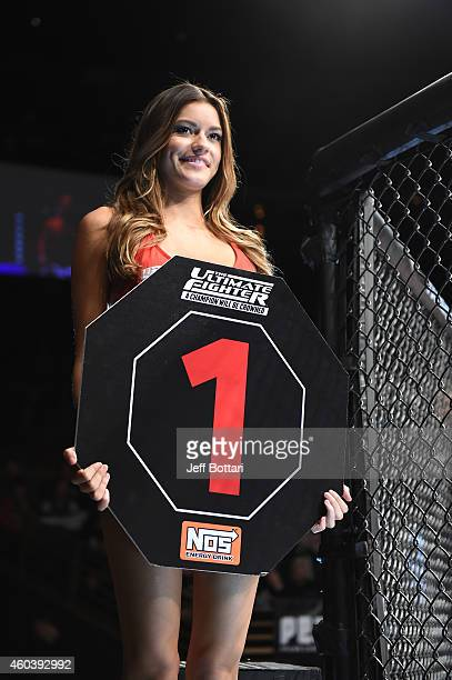 Octagon girl Vanessa Hanson introduces the round during The Ultimate Fighter Finale event inside the Pearl concert theater at the Palms Casino Resort...