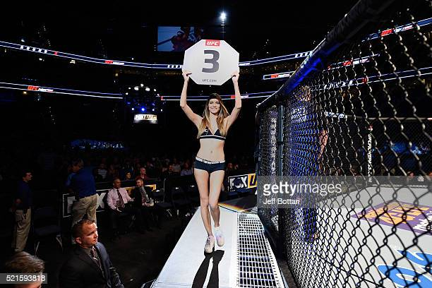 Octagon Girl Vanessa Hanson introduces the roundduring the UFC Fight Night event at Amalie Arena on April 16 2016 in Tampa Florida