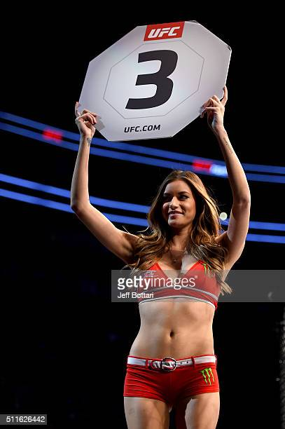 Octagon Girl Vanessa Hanson introduces the third round during the UFC Fight Night event at Consol Energy Center on February 21 2016 in Pittsburgh...