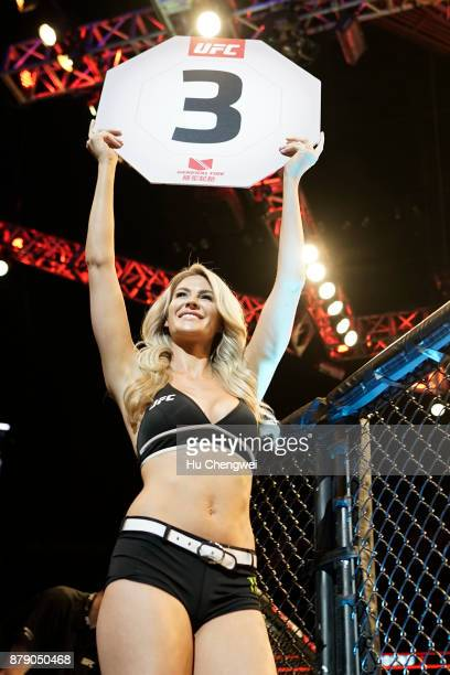 Octagon girl walks during the UFC Fight Night at MercedesBenz Arena on November 25 2017 in Shanghai China