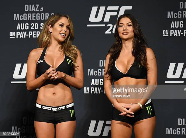 Octagon Girls and models Brittney Palmer and Arianny Celeste attend the weighins for UFC 202 on August 19 2016 in Las Vegas Nevada