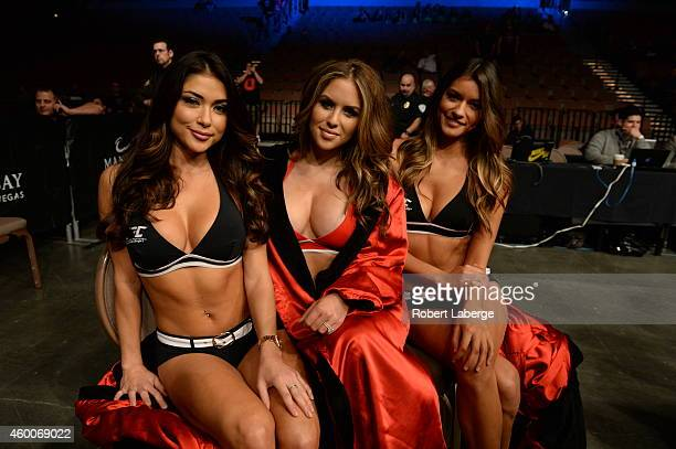 Octagon Girls Arianny Celeste Brittney Palmer and Vanessa Hanson in attendance during the UFC 181 event inside the Mandalay Bay Events Center on...