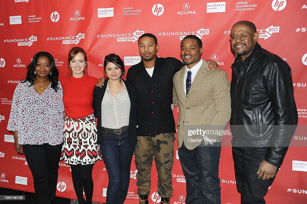 <a gi-track='captionPersonalityLinkClicked' href=/galleries/search?phrase=Octavia+Spencer&family=editorial&specificpeople=2538115 ng-click='$event.stopPropagation()'>Octavia Spencer</a>, <a gi-track='captionPersonalityLinkClicked' href=/galleries/search?phrase=Ahna+O%27Reilly&family=editorial&specificpeople=696424 ng-click='$event.stopPropagation()'>Ahna O'Reilly</a>, <a gi-track='captionPersonalityLinkClicked' href=/galleries/search?phrase=Melonie+Diaz&family=editorial&specificpeople=3323742 ng-click='$event.stopPropagation()'>Melonie Diaz</a>, Michael B. Jordan, Ryan Coogler and <a gi-track='captionPersonalityLinkClicked' href=/galleries/search?phrase=Forest+Whitaker&family=editorial&specificpeople=226590 ng-click='$event.stopPropagation()'>Forest Whitaker</a> attend the 'Fruitvale' premiere at The Marc Theatre during the 2013 Sundance Film Festival on January 19, 2013 in Park City, Utah.