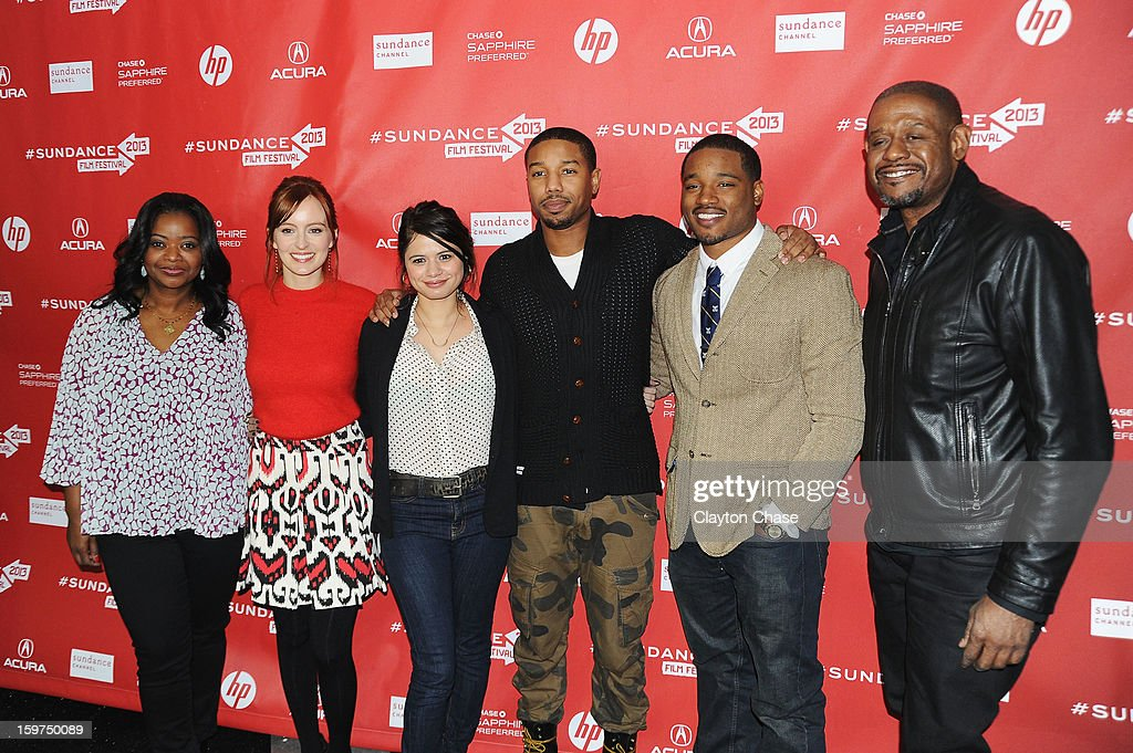Octavia Spencer, Ahna O'Reilly, Melonie Diaz, Michael B. Jordan, Ryan Coogler and Forest Whitaker attend the 'Fruitvale' premiere at The Marc Theatre during the 2013 Sundance Film Festival on January 19, 2013 in Park City, Utah.