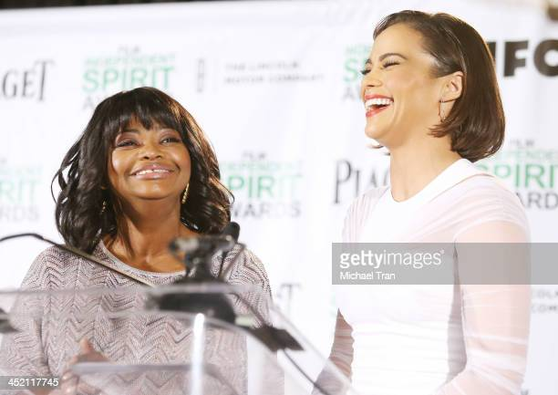 Octavia Spencer and Paula Patton speak at the 2014 Film Independent Spirit Awards nominations press conference held at W Hollywood on November 26...