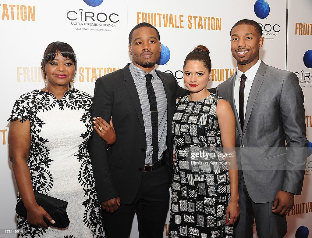 Octavia Spencer director Ryan Coogler Melonie Diaz and Michael B Jordan attend the 'Fruitvale Station' screening at the Museum of Modern Art on July...