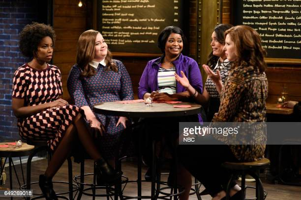 LIVE 'Octavia Spencer' Episode 1719 Pictured Sasheer Zamata Aidy Bryant Octavia Spencer Cecily Strong and Vanessa Bayer during the 'Wine Bar' sketch...