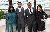 Octavia Spencer Michael B Jordan director Ryan Coogler and Melonie Diaz attend the photocall for 'Fruitvale Station' during the 66th Annual Cannes...