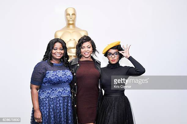 Octavia Spencer Taraji P Henson and Janelle Monae attend an official academy screening of HIDDEN FIGURES hosted by the The Academy of Motion Picture...