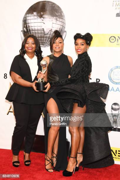 Octavia Spencer Taraji P Henson and Janelle Monae pose in the press room at the 48th NAACP Image Awards at Pasadena Civic Auditorium on February 11...