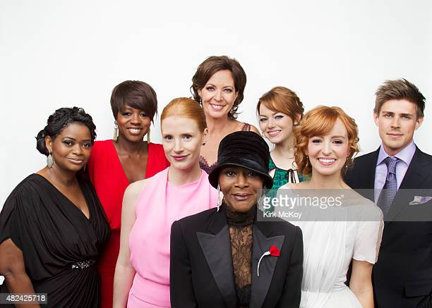 Octavia Spencer Viola Davis Jessica Chastain Allison Janney Cecily Tyson Emma Stone Ahna O'Reilly and Chris Lowell are photographed for Los Angeles...