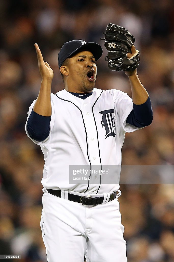 Octavio Dotel #20 of the Detroit Tigers reacts after Eduardo Nunez #26 of the New York Yankees flied out for the final out in the top of the seventh inning against the New York Yankees during game four of the American League Championship Series at Comerica Park on October 18, 2012 in Detroit, Michigan.