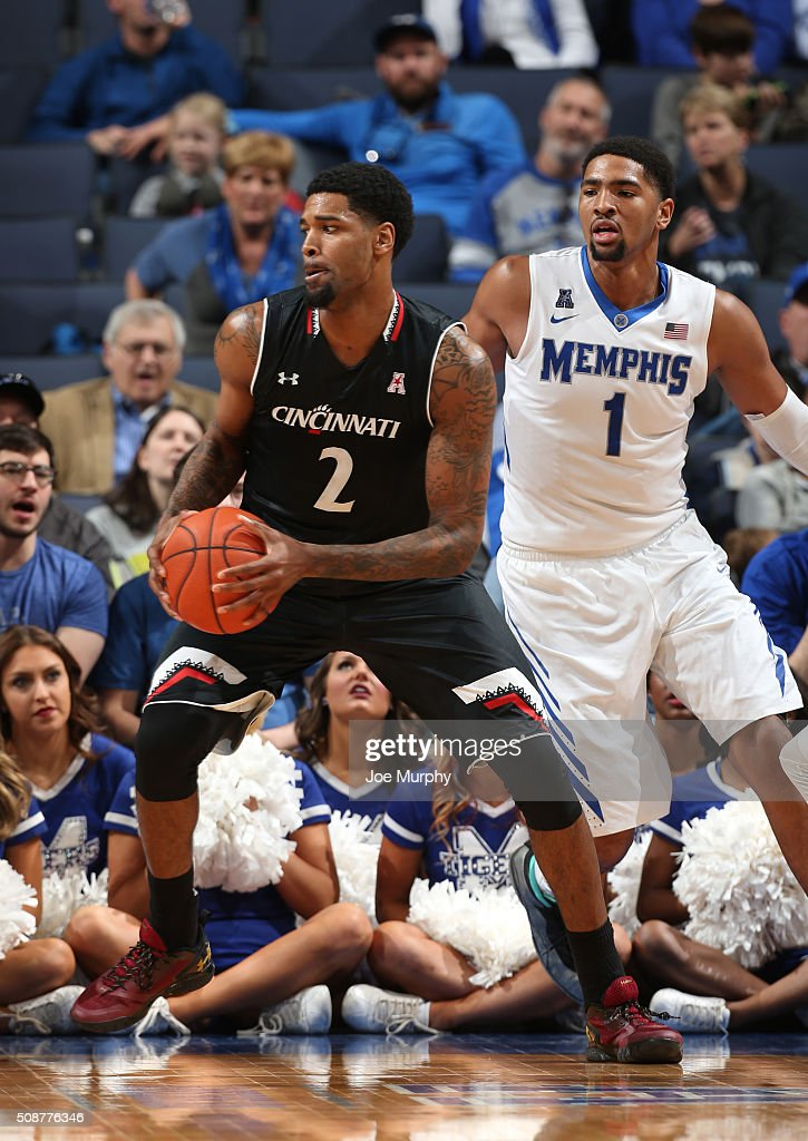 Octavius Ellis #2 of the Cincinnati Bearcats drives with the ball against Dedric Lawson #1 of the Memphis Tigers on February 6, 2016 at FedExForum in Memphis. Memphis defeated Cincinnati 63-59.