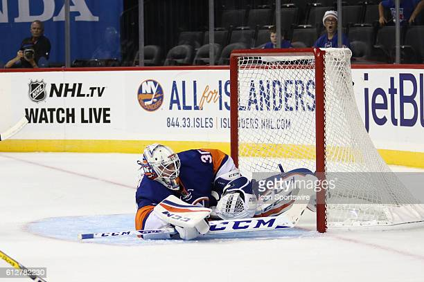 New York Islanders Goalie JeanFrancois Berube makes a save during the first period of a preseason NHL game between the New York Rangers and the New...