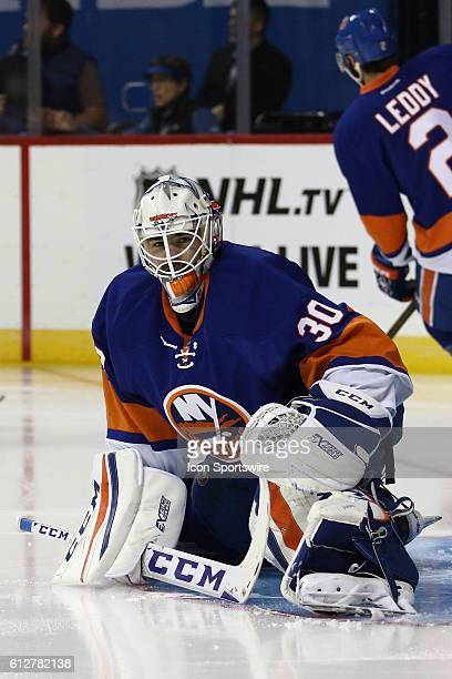 New York Islanders Goalie JeanFrancois Berube stretches prior to the start of a preseason NHL game between the New York Rangers and the New York...