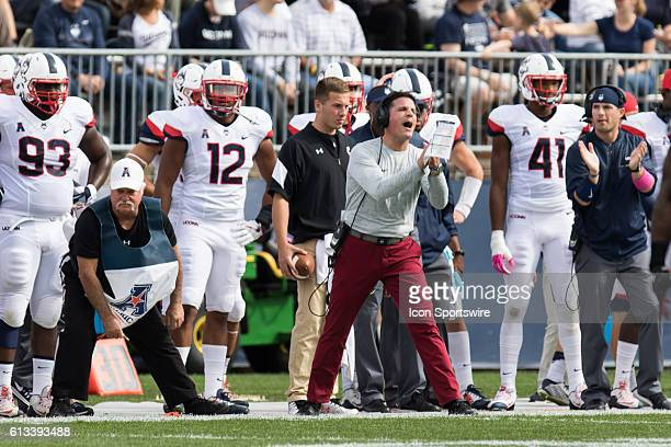 UConn Head Coach Bob Diaco on the sidelines during the first half of a NCAA football game between AAC rivals the Cincinnati Bearcats and the UConn...