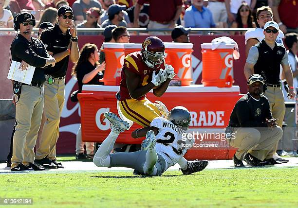 USC JuJu SmithSchuster makes a catch over Colorado Ahkello Witherspoon during the game at the Los Angeles Memorial Coliseum in Los Angeles CA