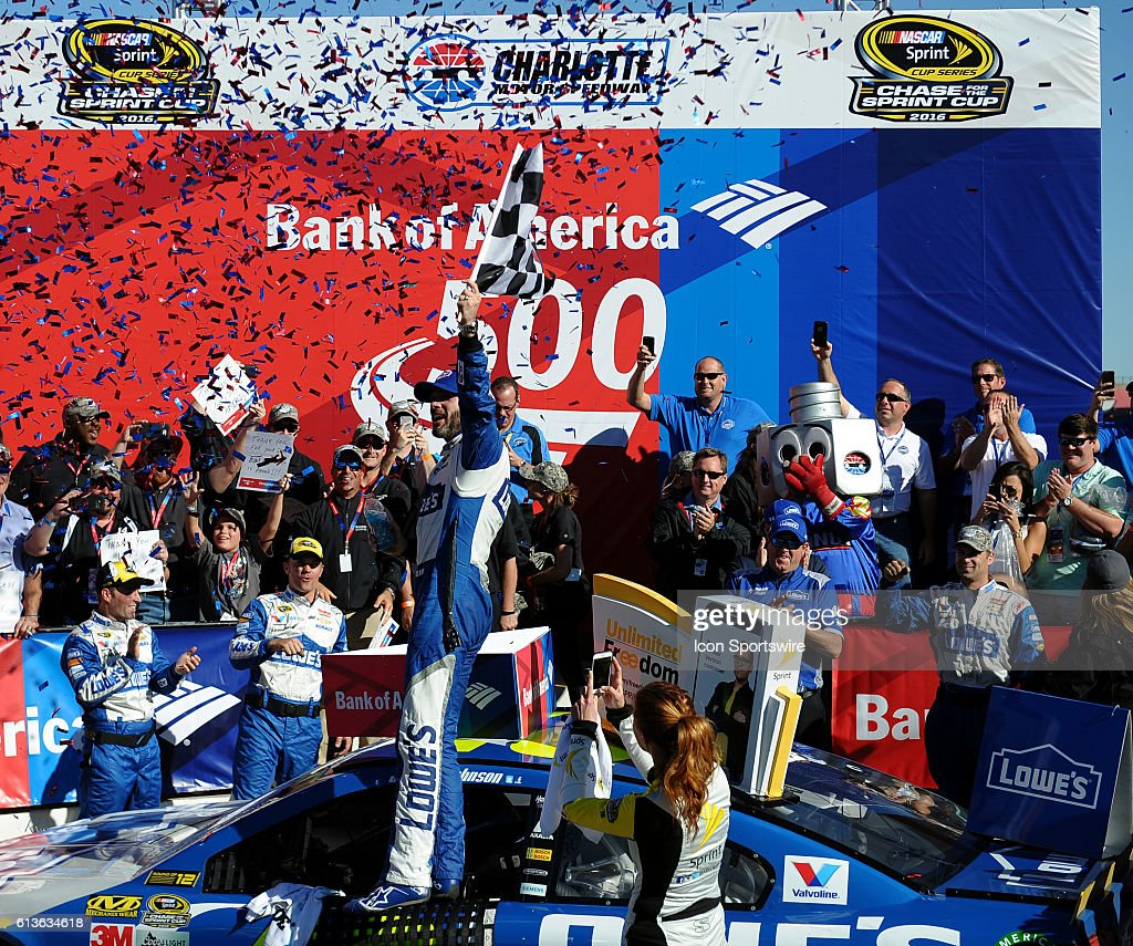 Sprint Cup Series driver Jimmie Johnson (48) celebrates after winning the Bank of America 500 at Charlotte Motor Speedway in Concord,NC.