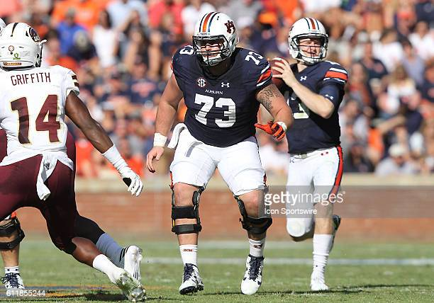 Auburn Tigers offensive lineman Austin Golson in pass block formation during an NCAA football game between the Auburn Tigers and the LouisianaMonroe...