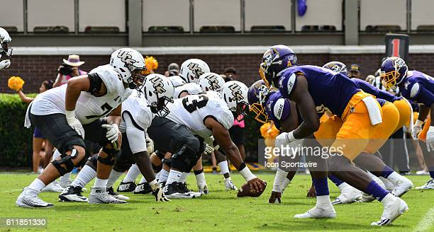 Central Florida offensive line in a game between the East Carolina Pirates and the Central Florida Knights at DowdyFicklen Stadium in Greenville NC...