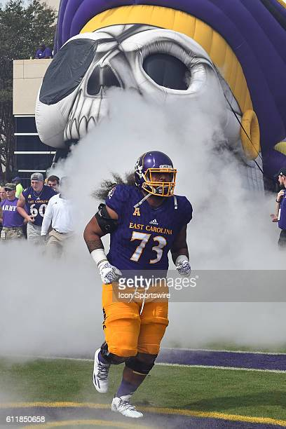 East Carolina Pirates offensive lineman Christian Matau before a game between the East Carolina Pirates and the Central Florida Knights at...