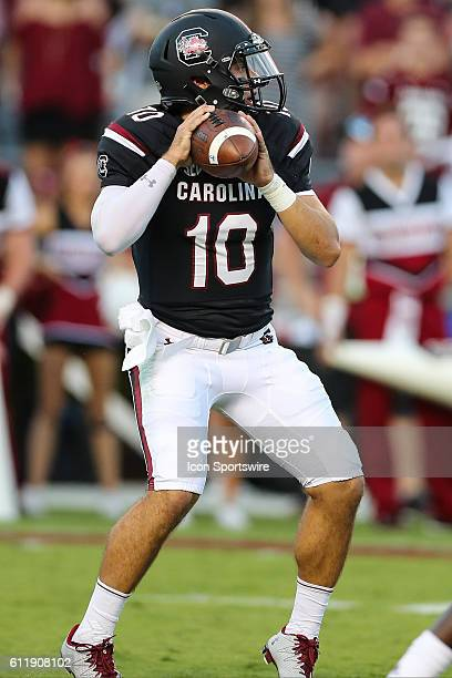 South Carolina Gamecocks quarterback Perry Orth drops back to pass during the second half against the Texas AM Aggies at WilliamsBrice Stadium in...