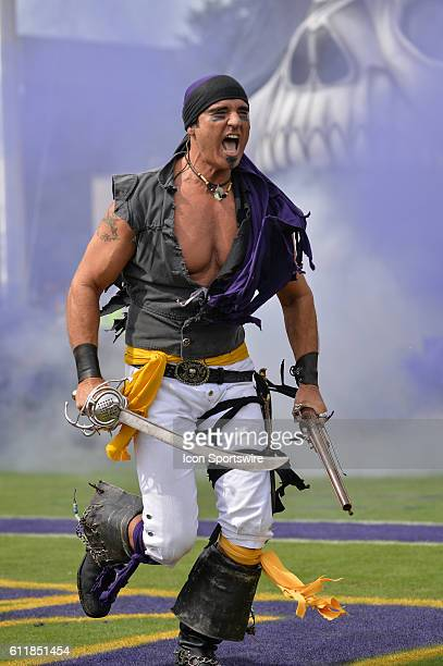 Steve the Pirate leads the team out in a game between the East Carolina Pirates and the Central Florida Knights at DowdyFicklen Stadium in Greenville...