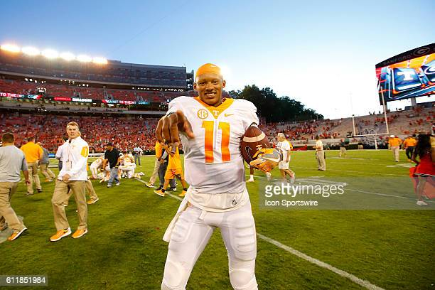Tennessee Volunteers quarterback Joshua Dobbs celebrates the victory in the Tennessee Volunteers 3431 victory over the Georgia Bulldogs at Sanford...