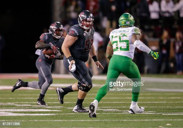 Washington State Cougars offensive lineman Riley Sorenson during the game between Oregon Ducks and the Washington State Cougars at the Martin Stadium...