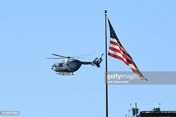 West Virginia Medievac helicopter lands on the hospital during a NCAA football game between the Kansas State Wildcats and the West Virginia...