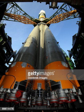 October 10, 2008 - The Soyuz TMA-13 spacecraft arrives at the launch pad at the Baikonur Cosmodrome in Kazakhstan,  for launch on October 12, 2008.