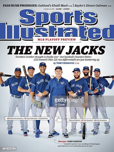 October 12 2015 Sports Illustrated Cover Baseball Portrait of Toronto Blue Jays manager John Gibbons with designated hitter Edwin Encarnacion...