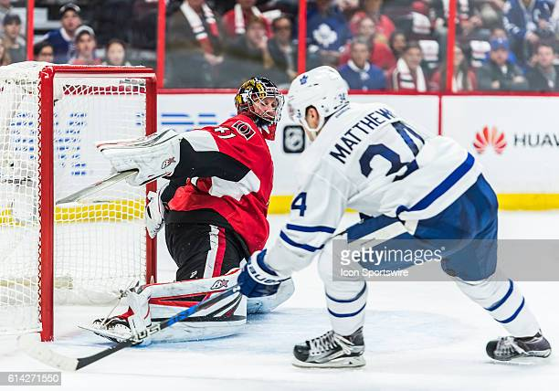 Toronto Maple Leafs Center Auston Matthews scores a goal during the NHL game between the Ottawa Senators and the Toronto Maple Leafs at Canadian...