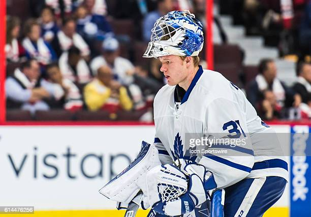 Toronto Maple Leafs Goalie Frederik Andersen skates during the NHL game between the Ottawa Senators and the Toronto Maple Leafs at Canadian Tires...