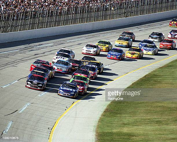 Dale Earnhardt goes high to pass Mike Skinner for the lead and eventual win in the Winston 500 NASCAR Cup race at Talladega Superspeedway Earnhardt...