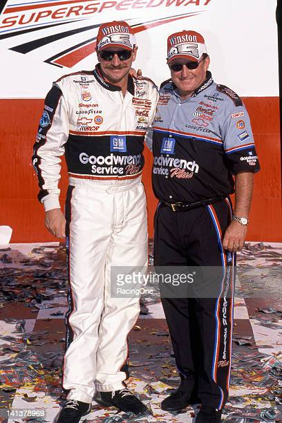Driver Dale Earnhardt and car owner Richard Childress in victory lane at Talladega Superspeedway after winning the Winston 500 NASCAR Cup race It...