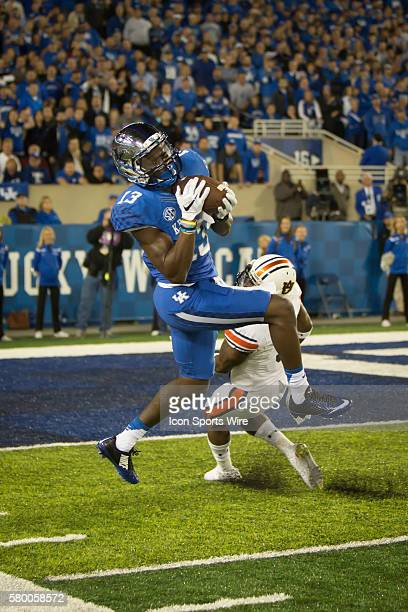 October 15 2015 Kentucky wide receiver Jeff Badet catches a long pass to put Kentucky in scoring position during the last couple minutes of the NCAA...