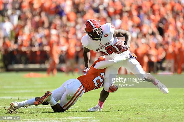 Clemson defensive back Cordrea Tankersley tackles NC States Stephen Lewis during 1st half action between the Clemson Tigers and the NC State Wolfpack...