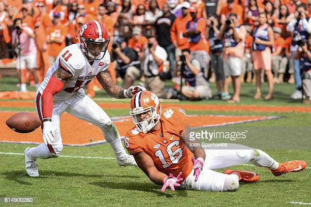 Clemson tight end Jordan Leggett gets ready to catch a pass while being defended by NC States Josh Jones during 2nd half action between the Clemson...