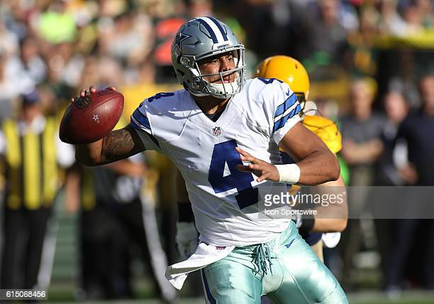 Dallas Cowboys Quarterback Dak Prescott passes during the Dallas Cowboys 3016 victory over the Green Bay Packers at Lambeau Field in Green Bay WI