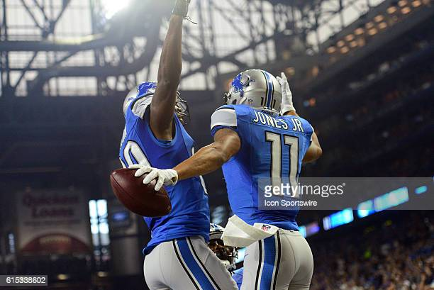 Detroit Lions Wide Receiver Marvin Jones and Detroit Lions Wide Receiver Anquan Boldin celebrate an early touchdown during the game against the Los...